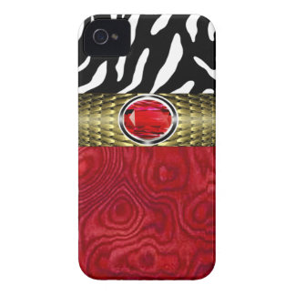 Zebra and Burl Wood with Jewel Accent (red/gold) iPhone 4 Cases