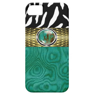 Zebra and Burl Wood with Jewel Accent (turquoise) iPhone 5 Case