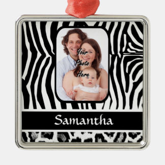 Zebra and cheetah print christmas ornament