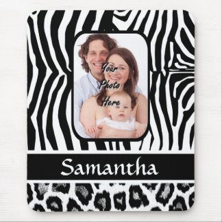 Zebra and cheetah print mouse mat