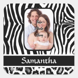 Zebra and cheetah print square sticker