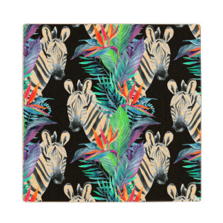 Zebra And Exotic Flowers Pattern 2 Wood Coaster
