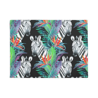 Zebra And Exotic Flowers Pattern Doormat