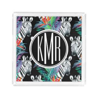 Zebra And Exotic Flowers Pattern | Monogram Acrylic Tray