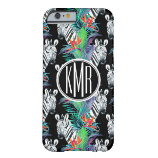 Zebra And Exotic Flowers Pattern | Monogram Barely There iPhone 6 Case