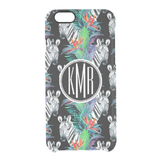 Zebra And Exotic Flowers Pattern | Monogram Clear iPhone 6/6S Case