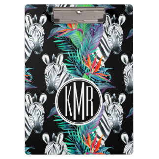 Zebra And Exotic Flowers Pattern | Monogram Clipboard