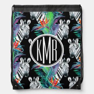Zebra And Exotic Flowers Pattern | Monogram Drawstring Bag