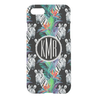 Zebra And Exotic Flowers Pattern | Monogram iPhone 7 Case