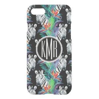 Zebra And Exotic Flowers Pattern | Monogram iPhone 8/7 Case