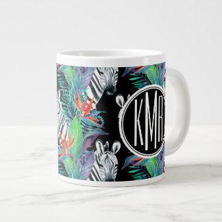 Zebra And Exotic Flowers Pattern | Monogram Large Coffee Mug