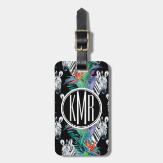 Zebra And Exotic Flowers Pattern | Monogram Luggage Tag