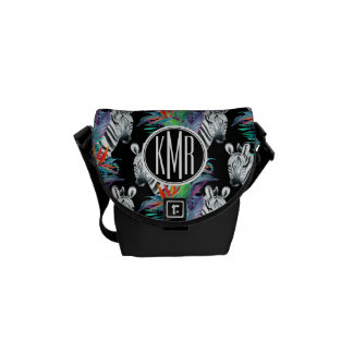 Zebra And Exotic Flowers Pattern | Monogram Messenger Bags