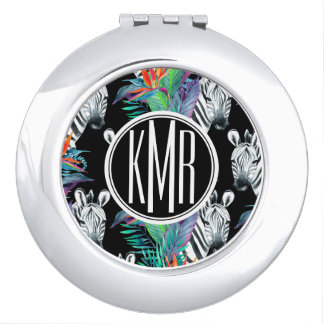 Zebra And Exotic Flowers Pattern   Monogram Mirror For Makeup