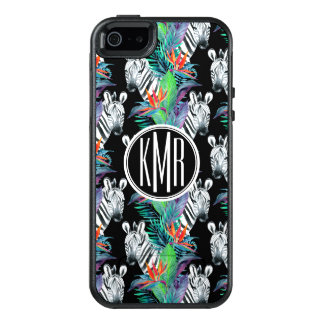 Zebra And Exotic Flowers Pattern | Monogram OtterBox iPhone 5/5s/SE Case