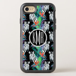 Zebra And Exotic Flowers Pattern | Monogram OtterBox Symmetry iPhone 8/7 Case