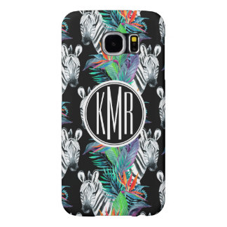 Zebra And Exotic Flowers Pattern | Monogram Samsung Galaxy S6 Cases