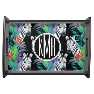 Zebra And Exotic Flowers Pattern | Monogram Serving Tray