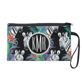 Zebra And Exotic Flowers Pattern | Monogram Wristlet Clutch