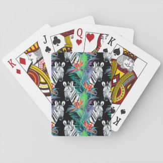 Zebra And Exotic Flowers Pattern Playing Cards
