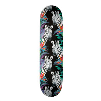 Zebra And Exotic Flowers Pattern Skate Board Deck