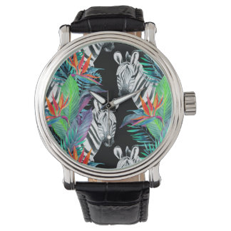 Zebra And Exotic Flowers Pattern Wrist Watch