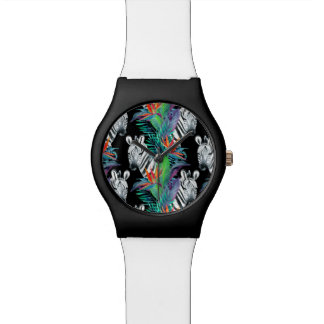 Zebra And Exotic Flowers Pattern Wristwatches