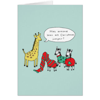 Zebra and Giraffe Christmas Card | Classic Comic