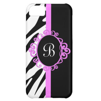 Zebra and Hot Pink Monogram iPhone 5C Case