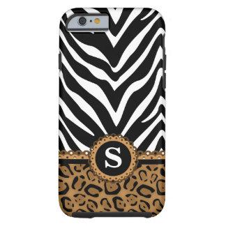 Zebra and Leopard Monogram Tough iPhone 6 Case