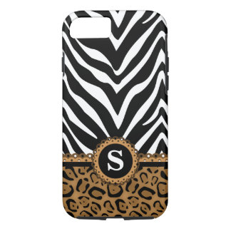 Zebra and Leopard Monogram iPhone 7 Case