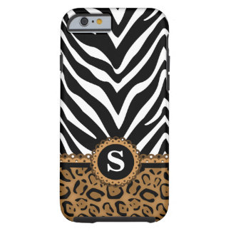 Zebra and Leopard Monogram Tough iPhone 6 Case