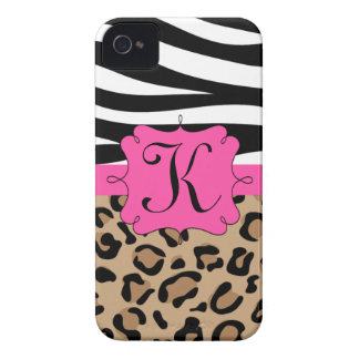 Zebra and Leopard Print Personalized Monogram iPhone 4 Case