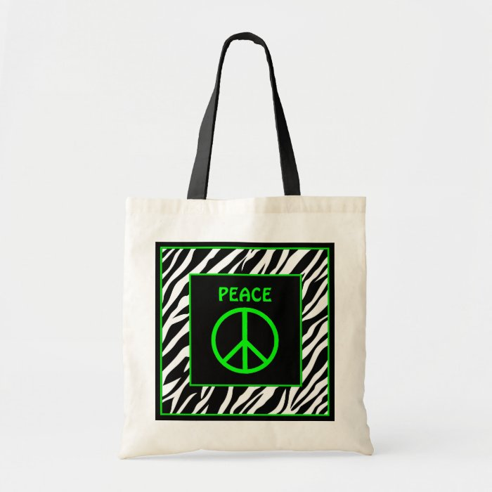 Zebra and Lime Green Peace Sign Bag