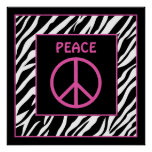 Zebra and Pink Peace Sign Wall Decor