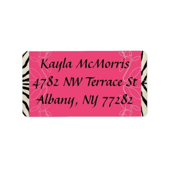 Zebra and pink sticker address label