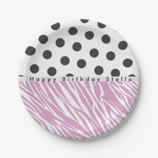 Zebra and Polka-Dots Party plate 7 Inch Paper Plate