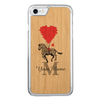 Zebra and red heart carved iPhone 8/7 case