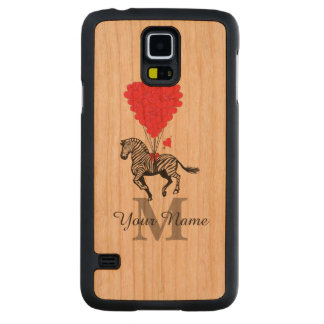 Zebra and red heart monogram carved cherry galaxy s5 case