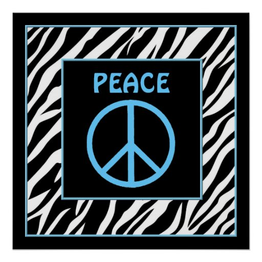 Zebra and Turquoise Blue Peace Sign Wall Decor Print