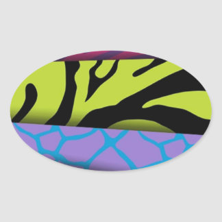 Zebra Animal Print Various Colors Add Text Oval Sticker