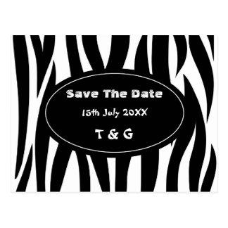 Zebra animal stripes pattern post card