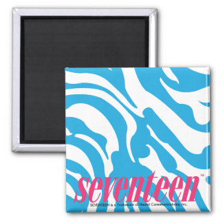 Zebra Aqua Square Magnet