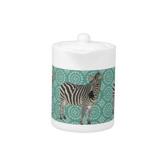 Zebra Aquamarine Teapot