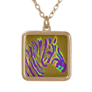 Zebra Art Purple Gold Gold Plated Necklace