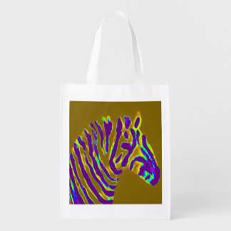 Zebra Art Purple Stripe Reusable Grocery Bag