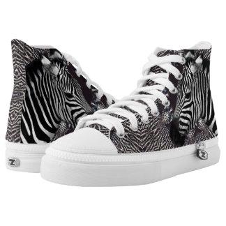 Zebra Art Zipz High Top Shoes