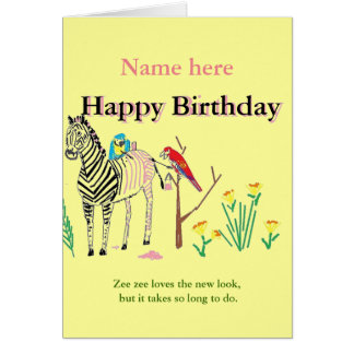 Zebra at the Salon, Funny birthday, for her. Greeting Cards
