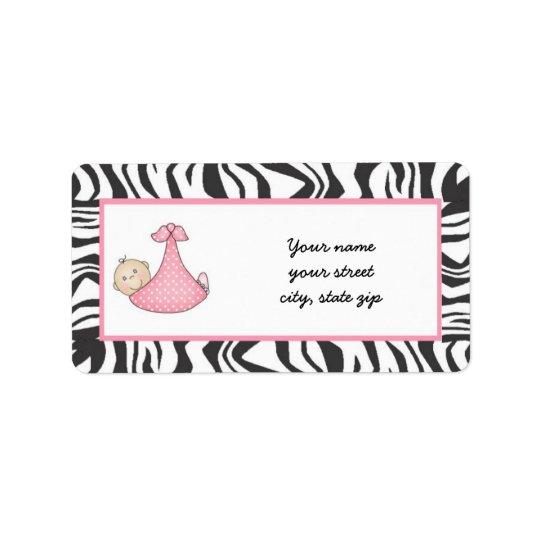 Zebra Baby Girl Address Labels - light skin
