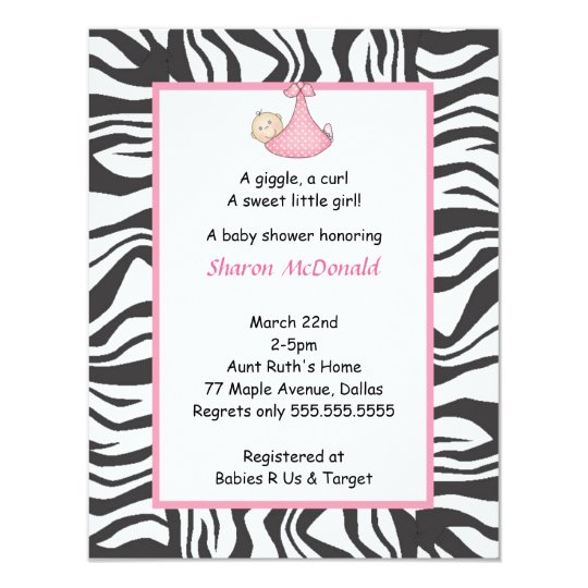 Zebra Baby Girl Shower Invitation Pink Black
